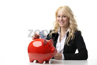 Women with piggy bank