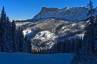 Winterlandschaft am Heiligkreuzkofel, Alta Badia, Dolomiten, Südtirol, Italien