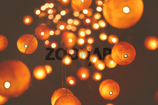 Abstract background with glowing lanterns