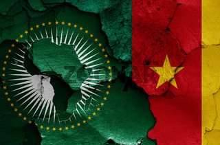 flags of African Union and Cameroon painted on cracked wall