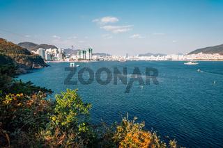 Songdo beach town panorama view in Busan, Korea