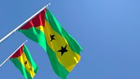 3D rendering of the national flag of Sao Tome And Principe waving in the wind