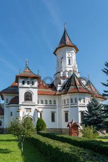 CAMPULUNG MOLDOVENESC, TRANSYLVANIA/ROMANIA - SEPTEMBER 18 : Exterior view of the Assumption Cathedral in Campulung Moldovenesc Transylvania Romania on September 18, 2018