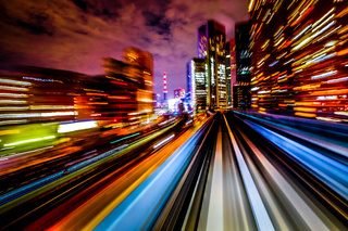 Long exposure from the Yurikamome Tokyo waterfront new traffic coastal line