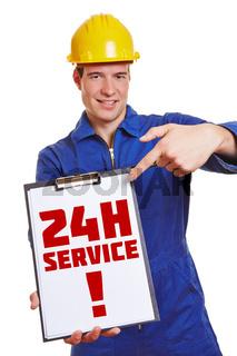 Handwerker wirbt mit 24 Stunden Service
