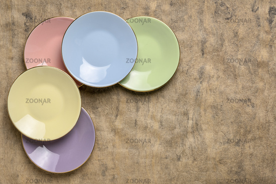 pastel porcelain saucer set abstract