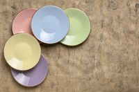 pastel porcelain saucer set abstract