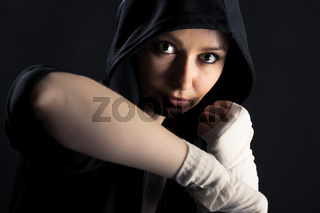 girl with a fighting stance
