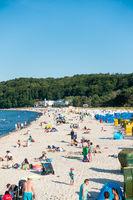 Der Strand von Binz auf Rügen im Sommer 2020, Mecklenburg-Vorpommern, Deutschland