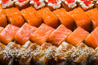Different pieces of sushi are lined up for a good presentation