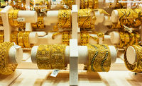 Jewelery store with bracelets of gold in Dubai