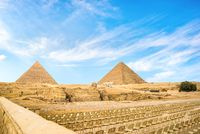 Seats near pyramids