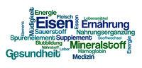 Word Cloud on a white background - Iron - Eisen (German)