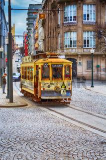 Porto, Portugal yellow vintage tram