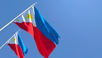 3D rendering of the national flag of Philippines waving in the wind
