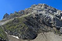 Felsgipfel in den französischen Alpen, La Clusaz, Bornes Aravis, Haute-Savoie, Frankreich