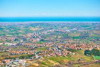 Adriatic seashore with San Marino and Rimini