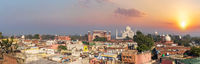 Agra city and Taj Mahal sunset panorama, India