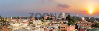 Agra city and Taj Mahal sunset panorama, India