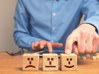 Concepual ranking business image with small wooden blocks