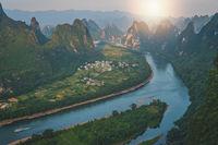 Xianggong Hill viewpoint panorama of Yangshuo landscape