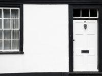 British house white and black entrance