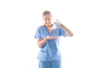 Nurse using or demonstrating hand sanitizer