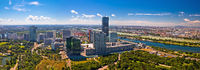 Vienna skyline and cityscape aerial panoramic view