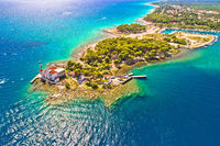 Jadrija lighthouse in Sibenik bay entrance aerial view