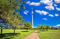 Donaupark landscape walkway and Donauturm tower view in Vienna