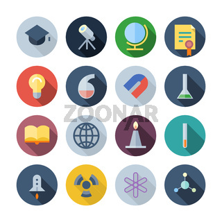 Flat Design Icons For Science and Education