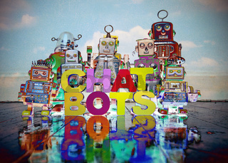 CHAT BOTS wooden letters and retro robot toys on a wooden floor