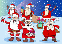 Santa Claus cartoon characters group on Christmas time