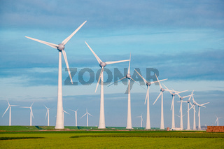 Windmills for electric power production Netherlands Flevoland, Wind turbines farm in sea, windmill farm producing green energy