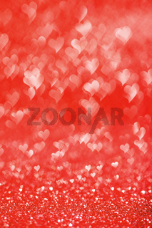 Shiny red heart lights background