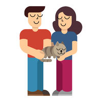 Man and woman holding domestic cat. Couple with cat in simple flat style. Vector illustration isolated on white background