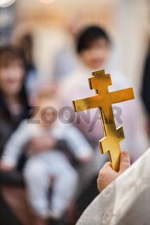 Close up of the Sanctification Cross for the baptism ceremony at the Orthodox Church