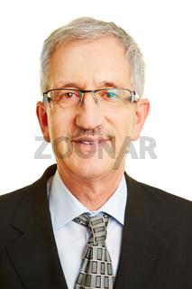 Bewerbungsfoto von Senior mit Brille
