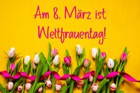 Colorful Tulip, Weltfrauentag Means Women Day, Easter Egg, Yellow Background