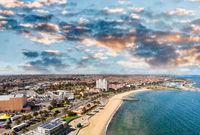 Aerial view of St Kilda coastline, Australia