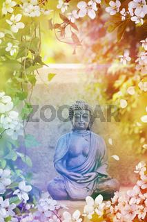Buddha garden statue with vines