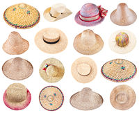 set of various summer straw hats isolated on white