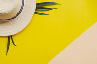 Summer vacation concept flat lay. Woman Hat top view. Space for text. travel
