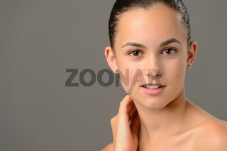 Teenage girl face cosmetics skin care close-up