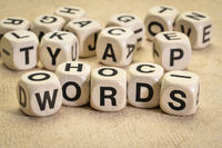 words - word abstract in letter cubes