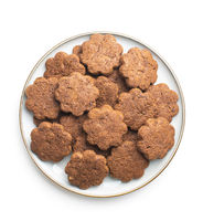 Crunchy chocolate biscuits shape flower.
