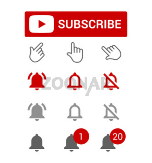 Subscribe button, red and grey bell alerts, chat or reminder notifications, elements for blogging, set of smm icons, flat style vector illustration.