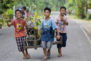 Cheerful local Boys in the Countryside on Bohol Island