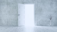 Light entering from open white door to empty room with concrete wall realistic 3D rendering