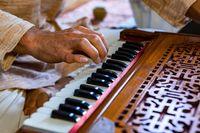Shamanic male hands playing harmonium